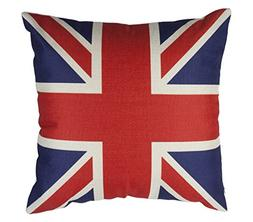WarmPlus Union Jack Flag 18x18 Cotton Linen Throw Pillow Cas