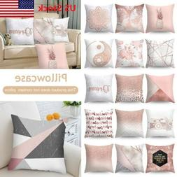 US Rose Gold Pink Series Cushion Cover Throw Home Sofa Pillo