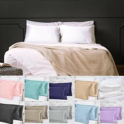 US Sell 2 Silky Satin Pillow Case Cushion Cover Pillowcase S
