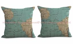 US SELLER-2pcs wholesale pillow cases world map travel saili