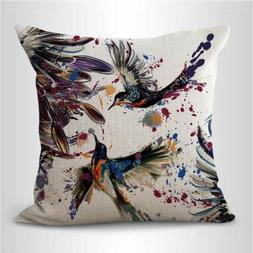 US SELLER- flower flying bird cushion cover pillow case for
