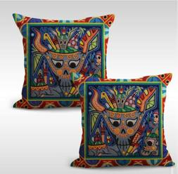 US SELLER-set of 2 Mexican folk art print cushion cover awes