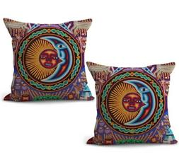 US SELLER, set of 2 Mexican Huichol Indian art print cushion
