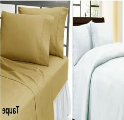 US Stock King Size Egyptian Cotton Solid Flat Sheet+2 Pillow