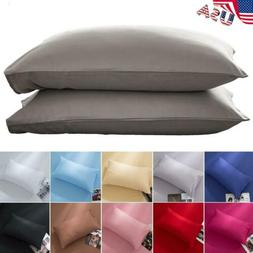 USA Solid Color Cotton Bed Pillowcases Bedding Pillow Case C