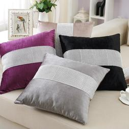 Velvet Throw Pillow Case with Diamond Chain Sofa Couch Cushi