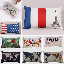 Rectangular Cotton Linen Pillow Case Cushion Cover Pillowcas