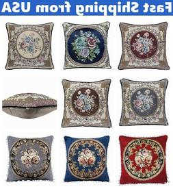 Vintage Jacquard Floral Decorative Throw PILLOW COVER Retro