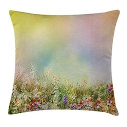 Ambesonne Watercolor Flower Home Decor Throw Pillow Cushion