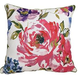 Watercolor Printed Floral Square Throw Pillow Case for Sofa,