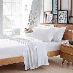 WHITE 100% EGYPTIAN COTTON BAMBOO BED LINEN SHEET HIGH QUALI