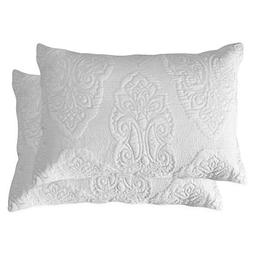 Brandream White Paisley Quilted Pillow Shams Standard Size P