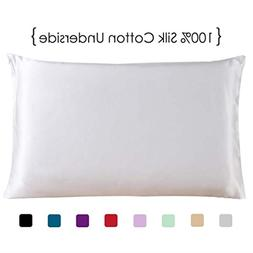 Queen Size Silk Pillowcase with Cotton Underside, White One