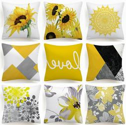 Yellow Gray Decorative Throw PILLOW COVER Grey Abstract Soft