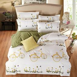 Yellow Mums Bike Quilt Cover Pillow Case King Queen Twin Duv