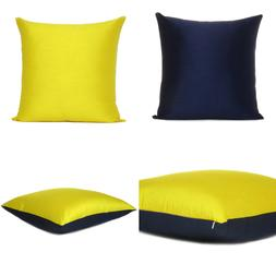 Yellow Navy Blue Cover Cushion Both Pillow Sides Case Silk T