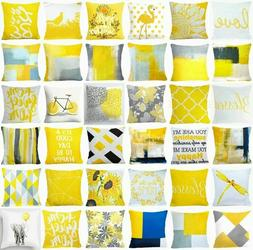 Yellow Throw PILLOW COVER 2-Sided Gray White Decorative Sofa