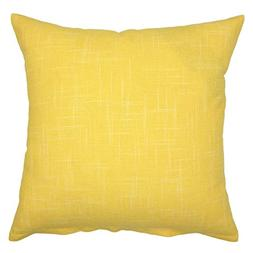 YOUR SMILE Pure Yellow Square Decorative Throw Pillows Case