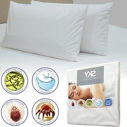 Zippered Pillow Protector Case Waterproof Breathable Polyest